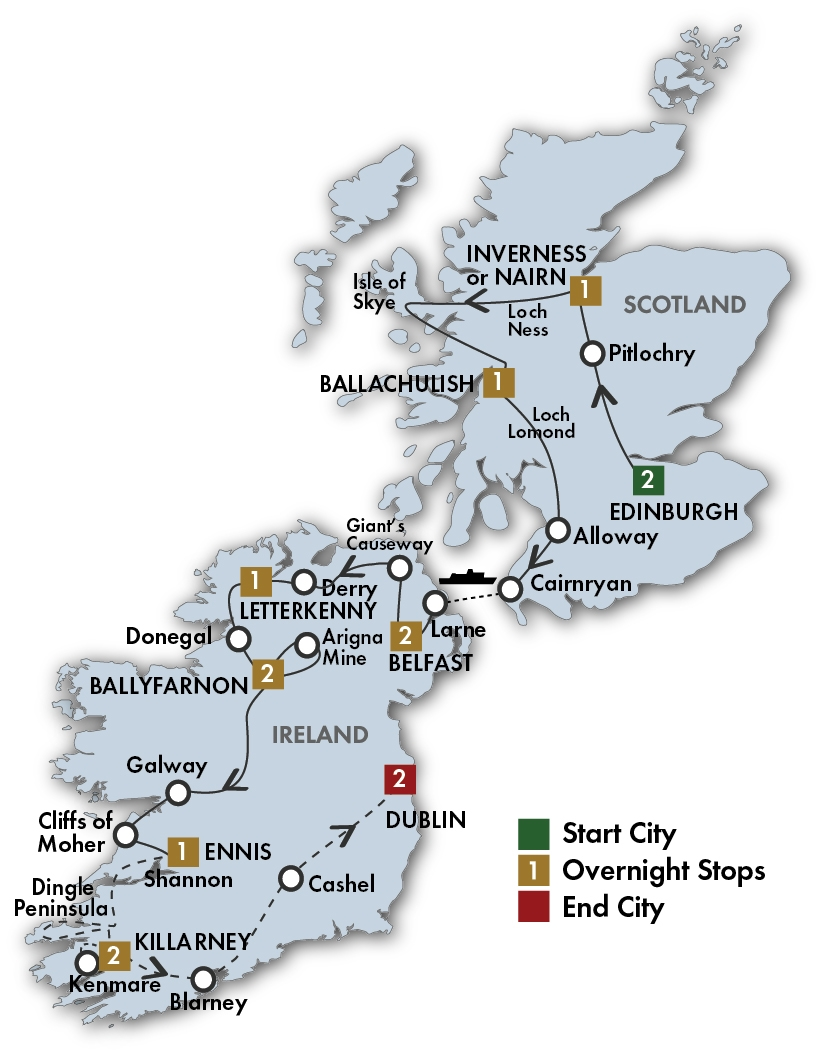 CIE Tours Tour Map  - 2019 - 15 Day The Scots Irish Tour