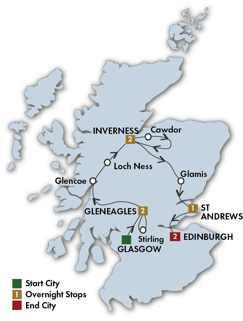CIE Tours Tour Map  - 2019 - 8 Day Scottish Supreme